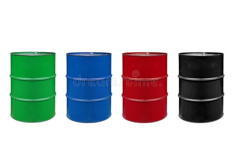 Barrels. Metal barrels of colors color stock photography