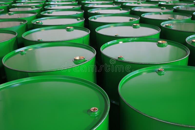Barrels. Metal barrels of green color royalty free stock images