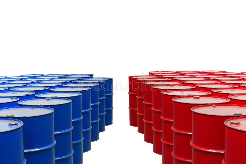 Barrels. Metal barrels of red and blue color stock images