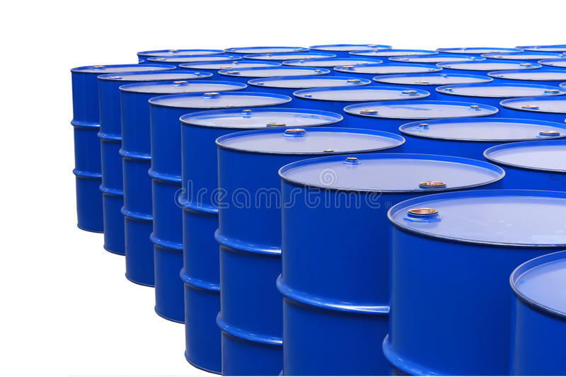 Barrels. Metal barrels of red color stock image