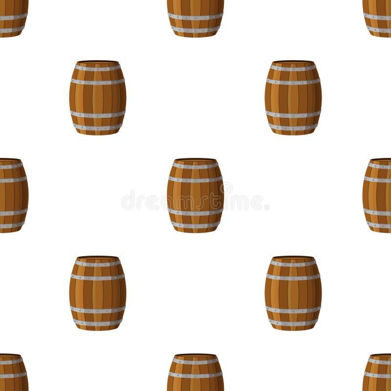 Barrels o teste padrão sem emenda Estilo liso Rum, uísque, cerveja, vinho, ilustração do vetor