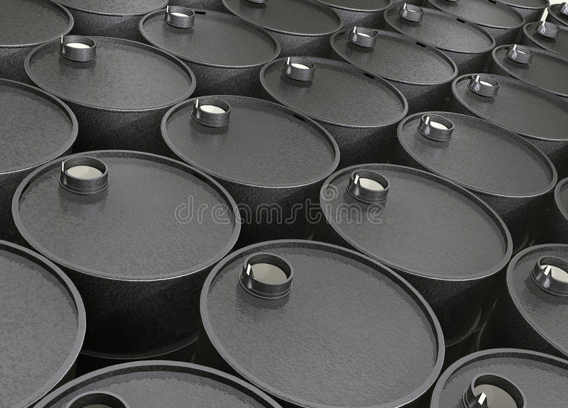 Barrels of oil stock image