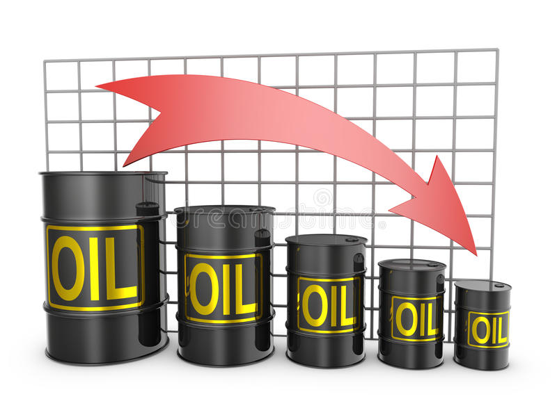 Barrels of oil. And an arrow pointing down stock illustration