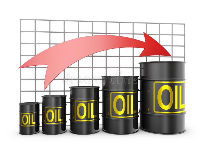 Barrels of oil. And the arrow is pointing up stock illustration