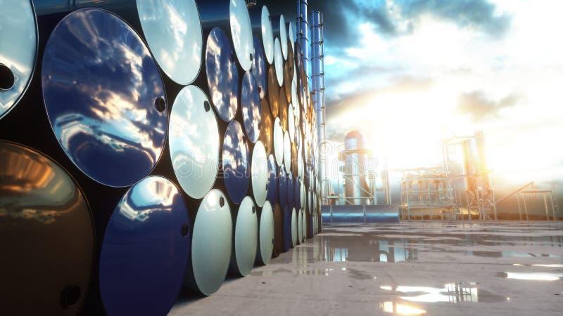 Barrels of oil near petrol plant, refinery. 3d rendering. vector illustration