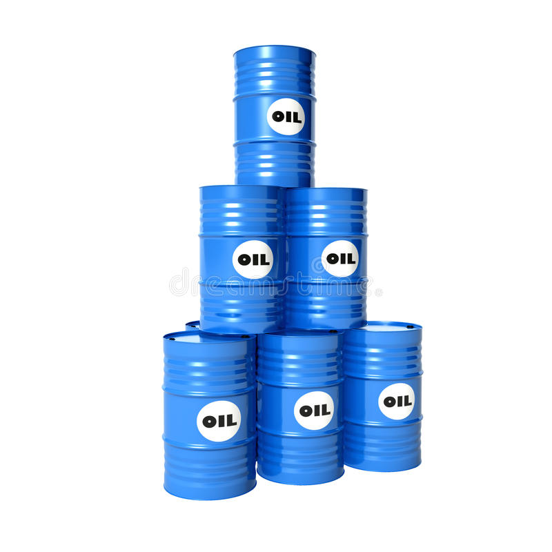 Barrels of oil. Pyramid of blue barrels of oil royalty free stock images