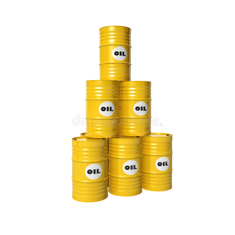Barrels of oil. Pyramid of yellow barrels with oil stock photos