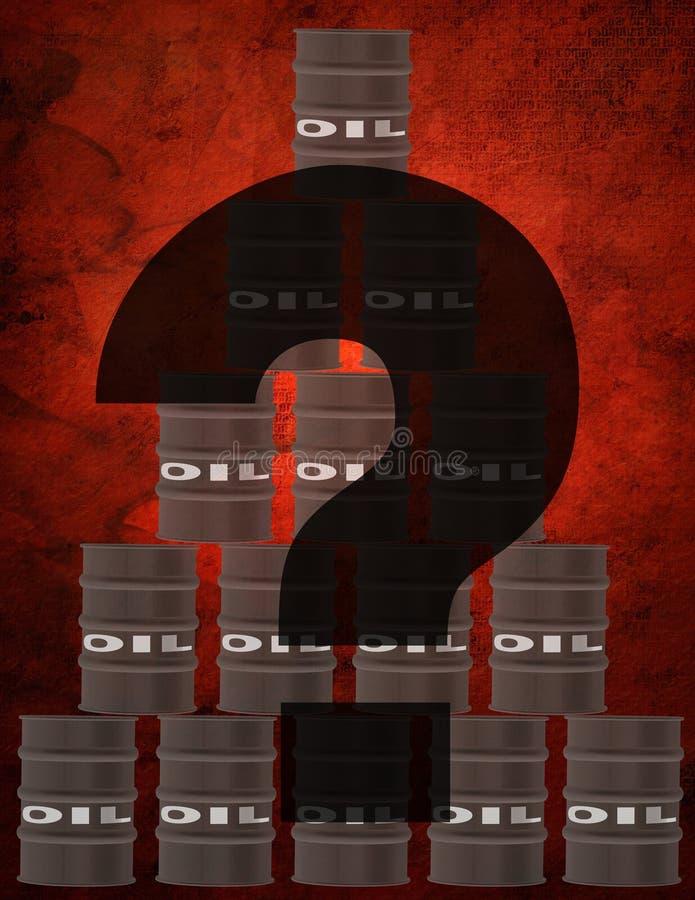 Barrels of oil. Question sign. 3D rendering stock illustration