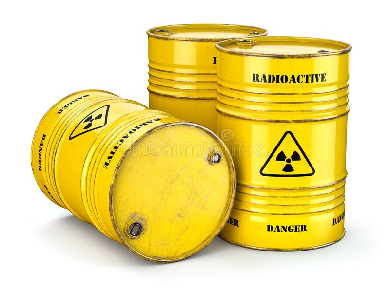 Barrels with radioactive waste isolated on white, Manufacturing of nuclear power and utilization of radioctive materials. 3d illustration vector illustration
