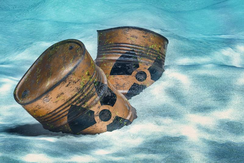 Barrels with radioactive waste on ocean bottom underwater. 3D rendering royalty free illustration