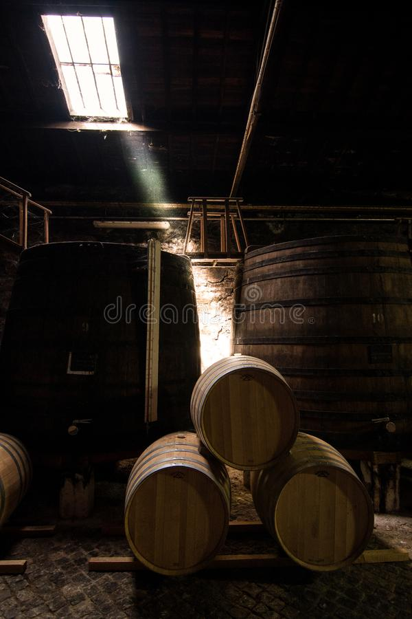 Barrels stacked for storage of wine. In a old warehouse royalty free stock images