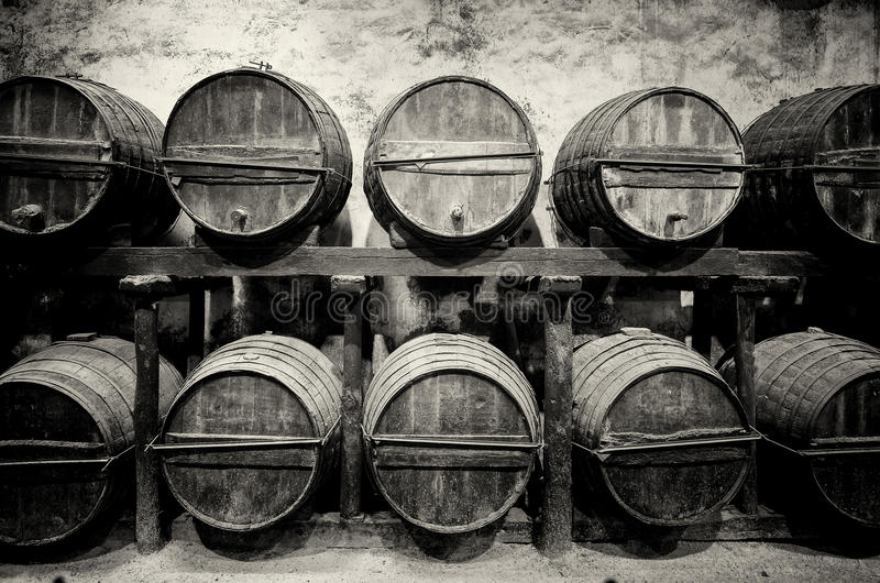 Barrels stacked in the winery royalty free stock photo