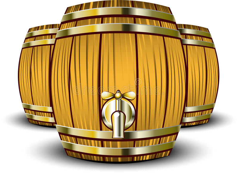 barrels trä vektor illustrationer