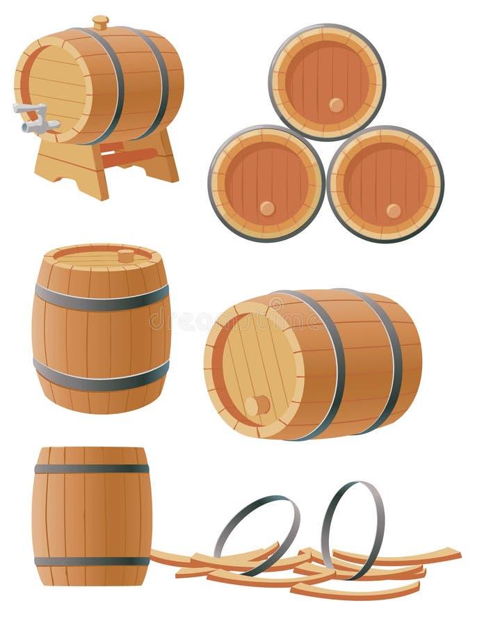 barrels trä royaltyfri illustrationer