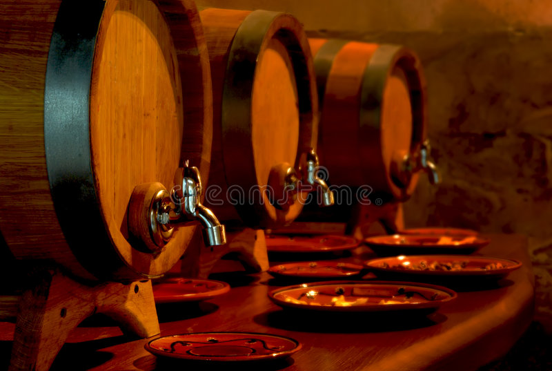 Barrels of wine stock images