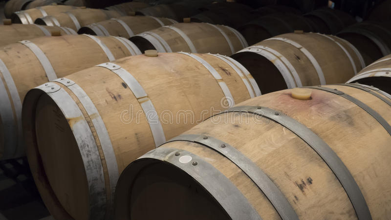 Barrels in a wine cellar stock photos