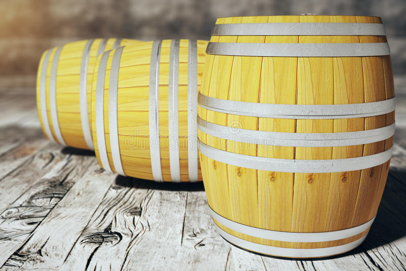 Barrels on wooden floor. Three wine barrels on wooden floor. 3D Render royalty free illustration