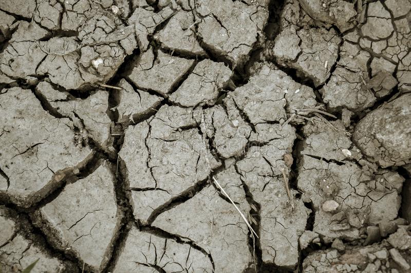 Barren cracked soil background at dry season stock images