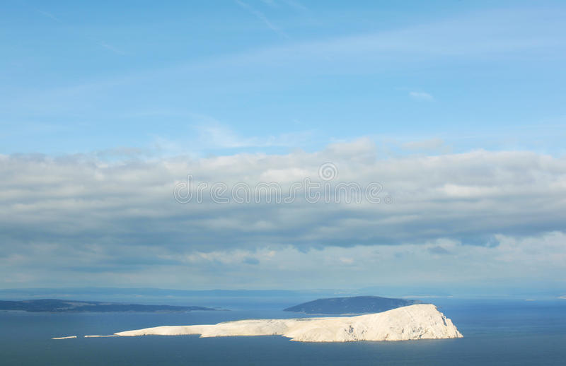Barren island in Adriatic, uninhabited, completely bare royalty free stock photography