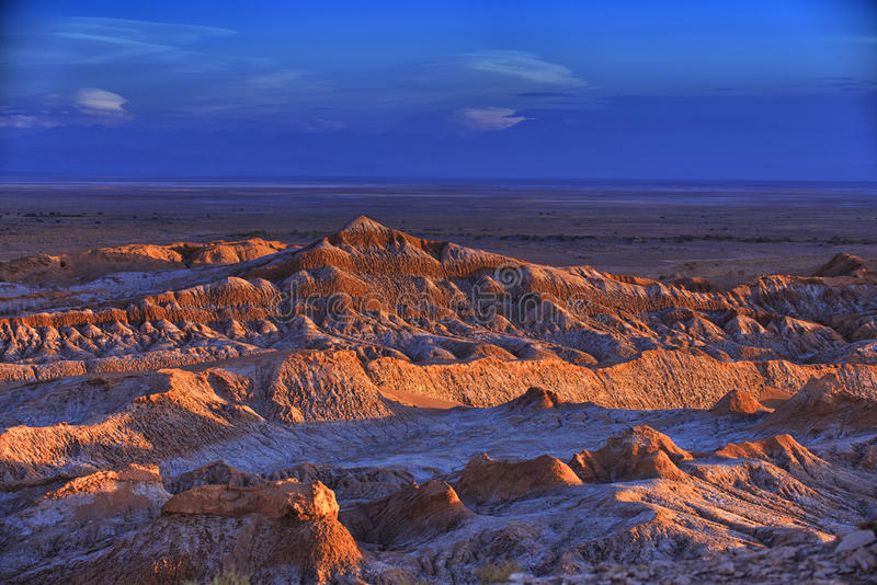 Barren landscape of the Moon valley in Atacama desert, Chile. royalty free stock photography