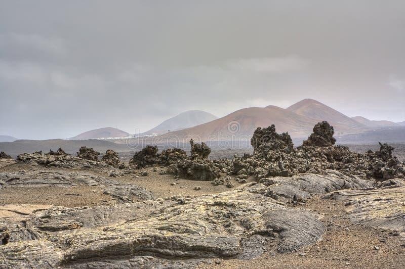 Barren landscape of Timanfaya royalty free stock photography