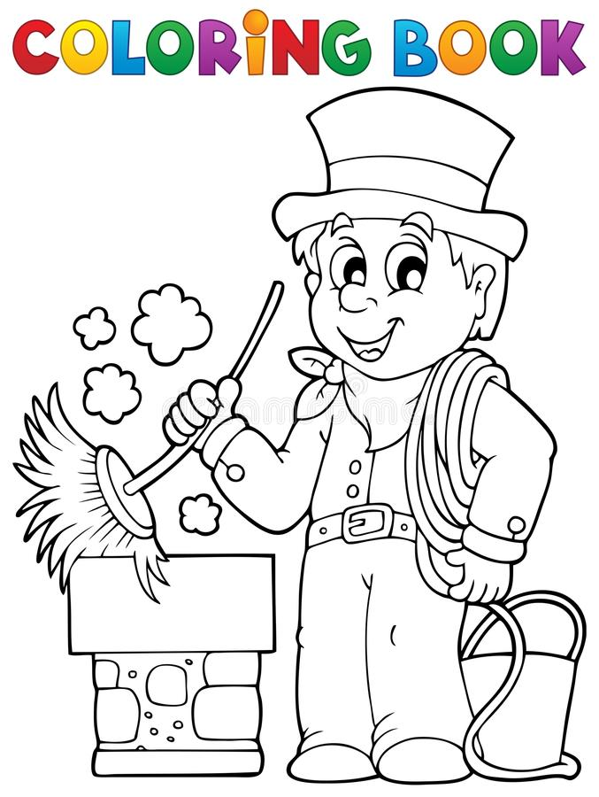 Barrendero de la chimenea del libro de colorear stock de ilustración