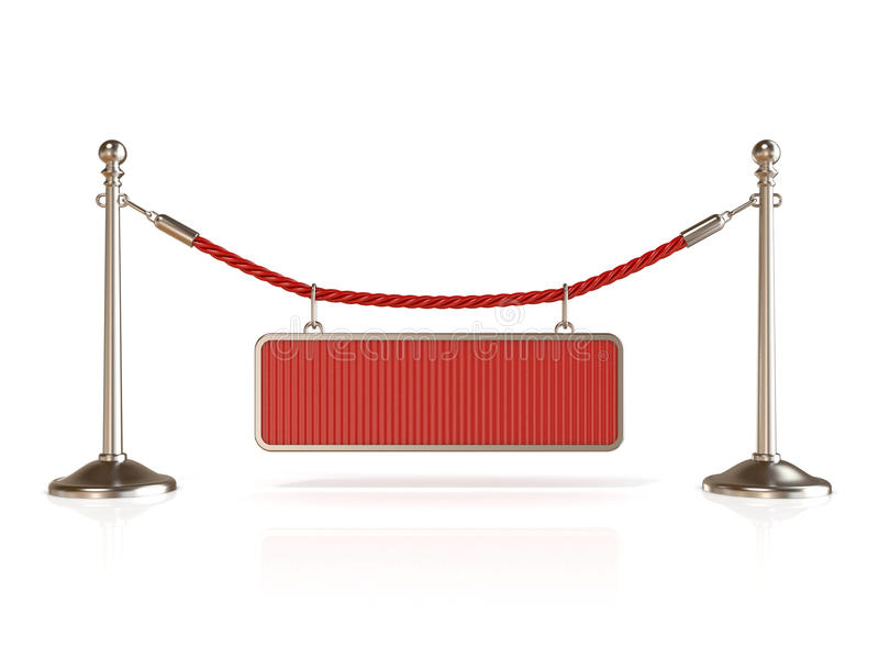 Barrera de la cuerda del terciopelo, con la muestra EN BLANCO ilustración del vector