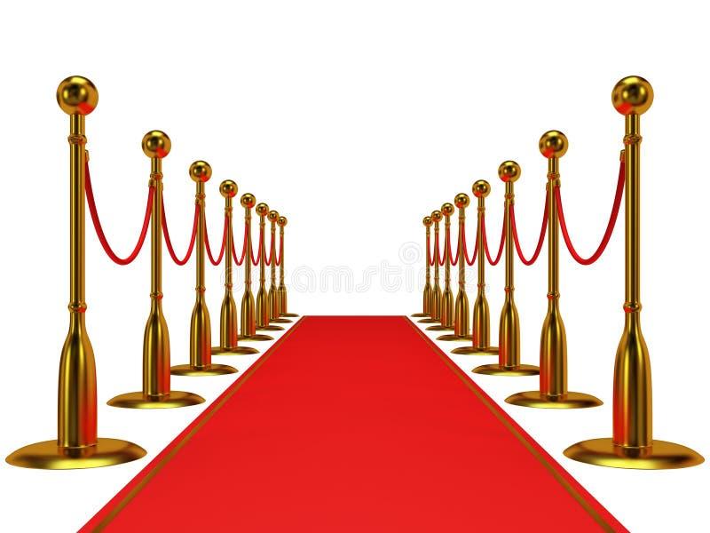 Barrera de oro de la cuerda con la alfombra roja del evento stock de ilustración