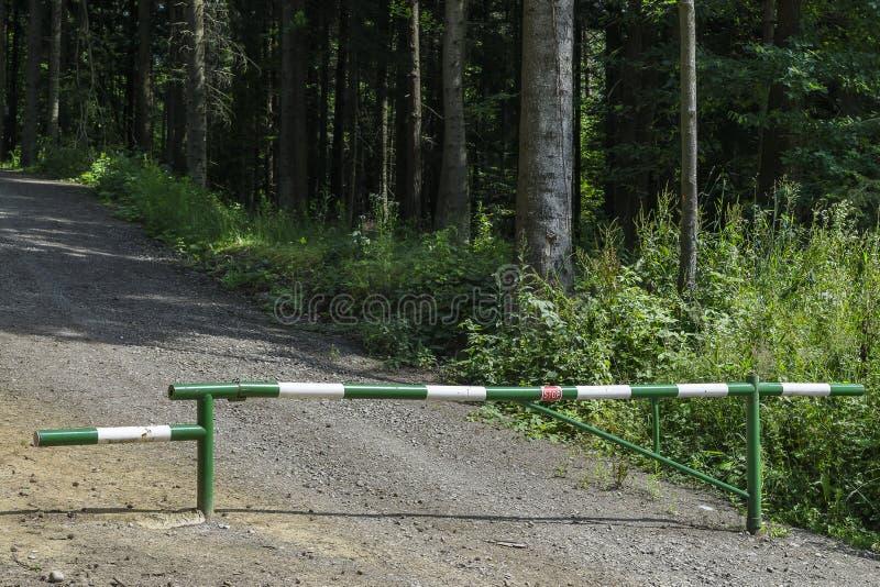barrera en bosque imagen de archivo