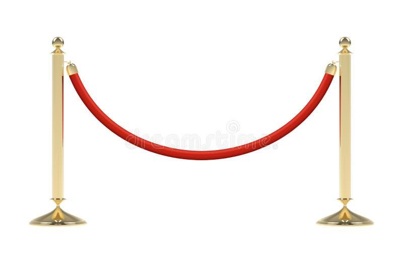 Barreras con la cuerda roja stock de ilustración