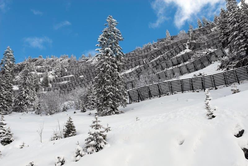 Barreras de la avalancha foto de archivo