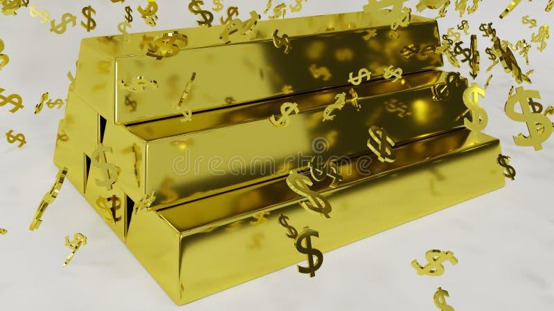 Barres d'or avec des symboles en baisse du dollar illustration stock