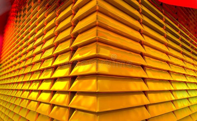 Barres d'or d'or empilées ou lingot d'or réfléchies et brillantes photographie stock