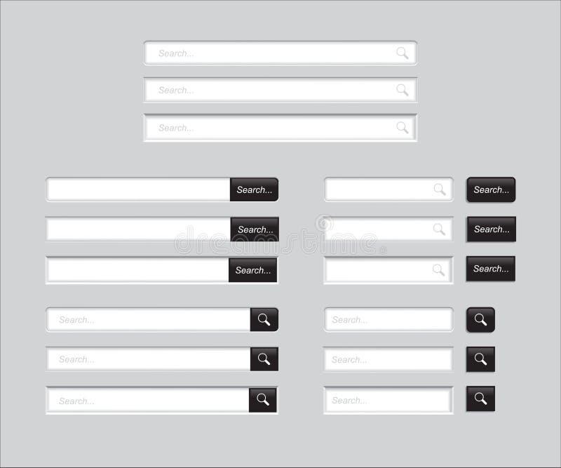Barres de recherche sur le fond gris Calibre de vecteur pour la recherche d'Internet interface Web-surfante avec le vert illustration de vecteur