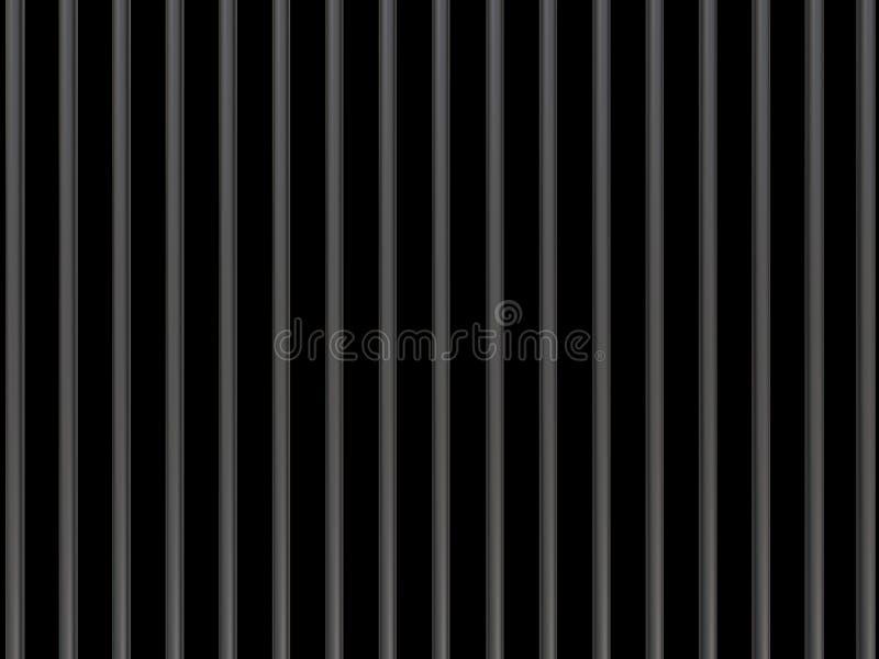 Barres en métal sur un fond noir 3d illustration libre de droits