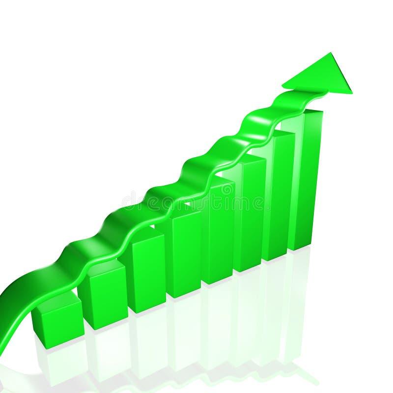 Barres et flèche vertes de croissance d'affaires illustration de vecteur