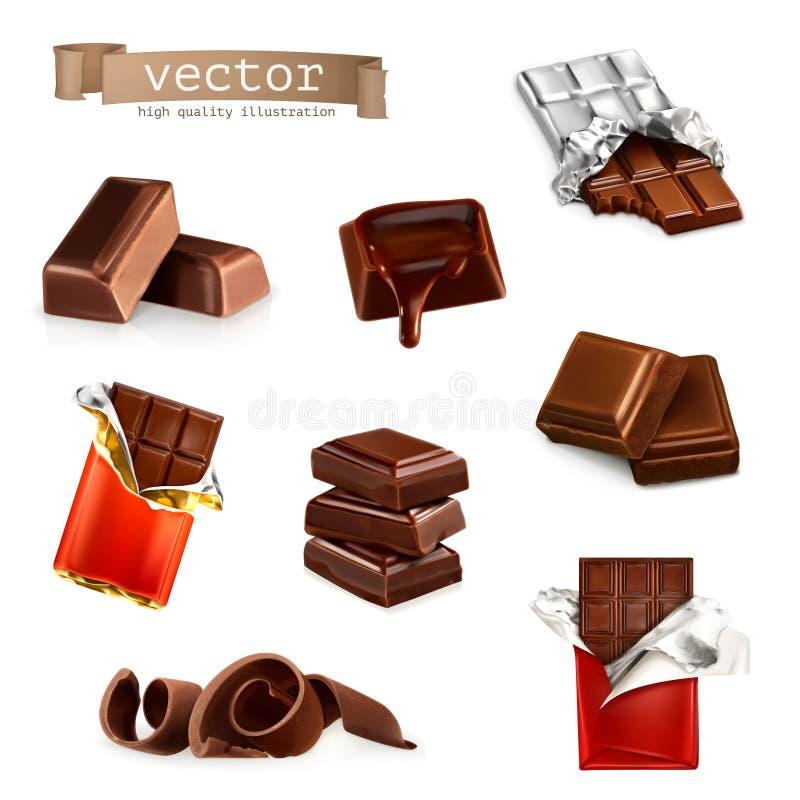 Barres et morceaux de chocolat illustration de vecteur