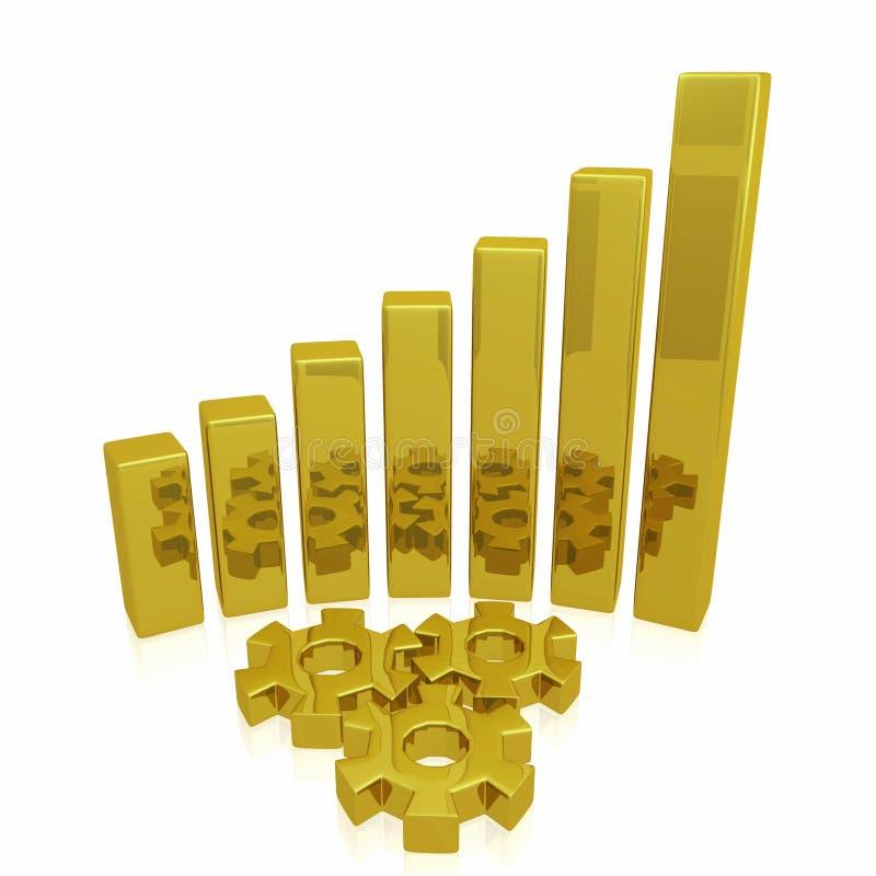 Barres et vitesses d'or de croissance d'affaires illustration libre de droits