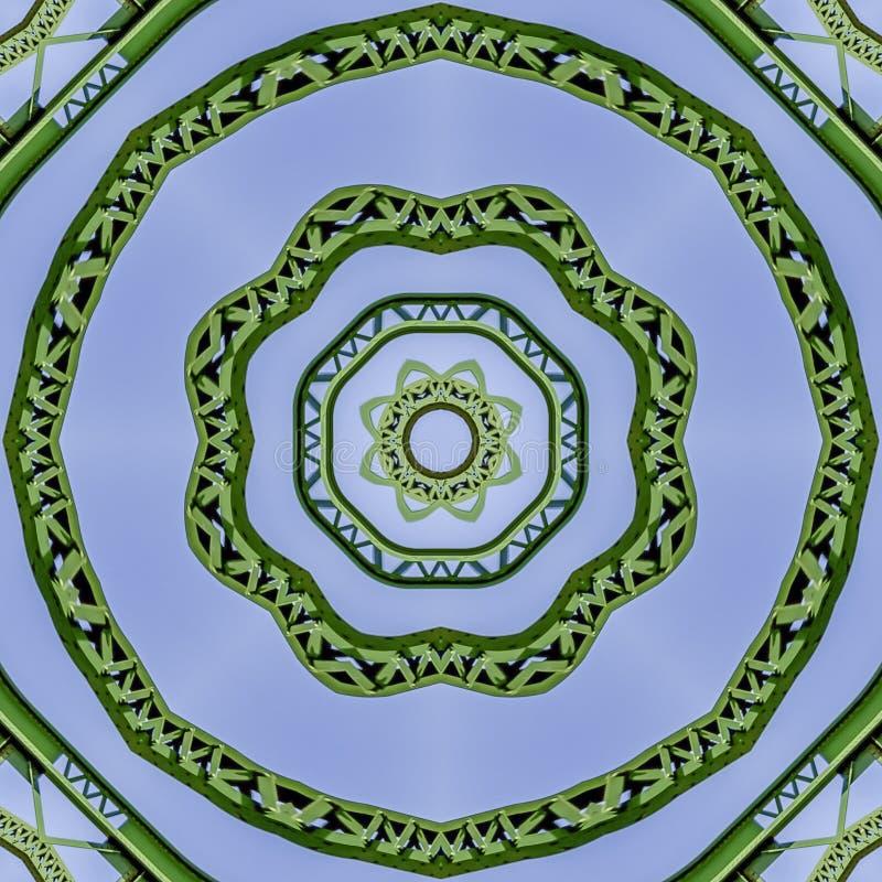 Barres vertes circulaires intéressantes en métal de cadre carré créées utilisant des réflexions dans une forme arrondie d'un pont illustration libre de droits