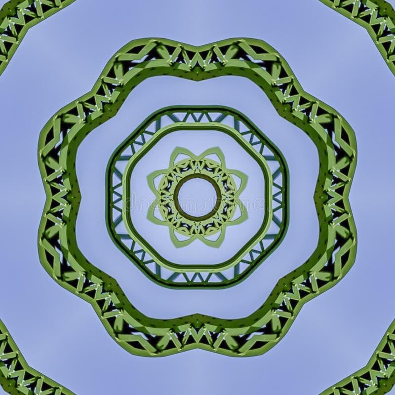 Barres vertes circulaires intéressantes en métal de place créées utilisant des réflexions dans une forme arrondie d'un pont en Ca photo stock