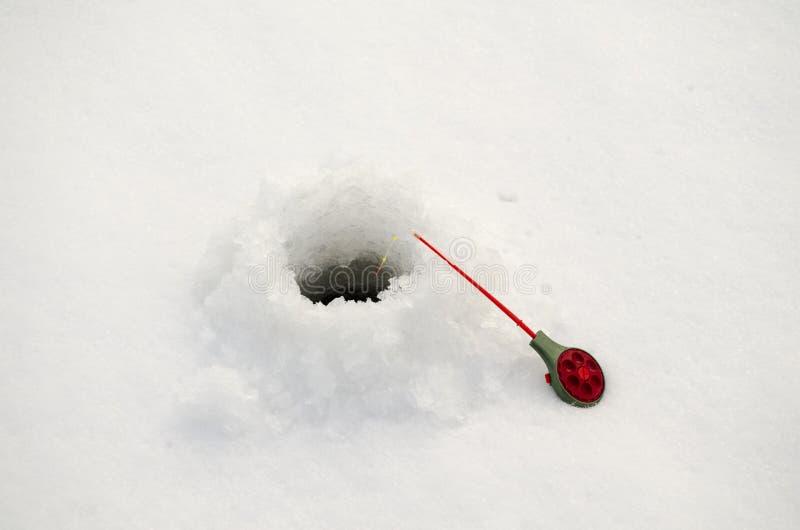 Barretta di pesca sul ghiaccio fotografia stock libera da diritti