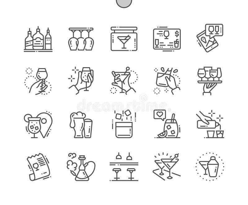 Barrez le pixel Bien-ouvré le vecteur que parfait rayent légèrement la grille 2x des icônes 30 pour des graphiques et Apps de Web illustration stock