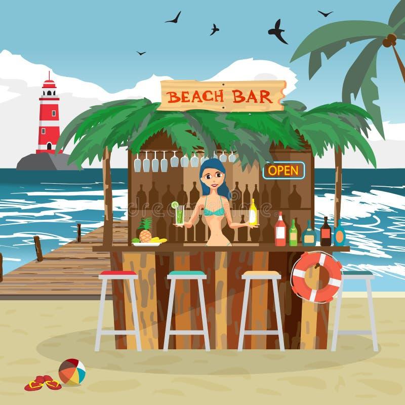 Barrez les pavillons avec la femme de barman sur la côte d'océan de plage illustration libre de droits