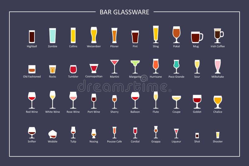 Barrez les types le guide, icônes plates en verre sur le fond foncé Orientation horizontale Vecteur illustration libre de droits