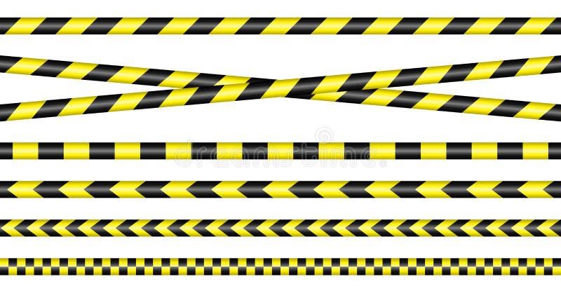 Barriären tejpar gult och svart royaltyfri illustrationer