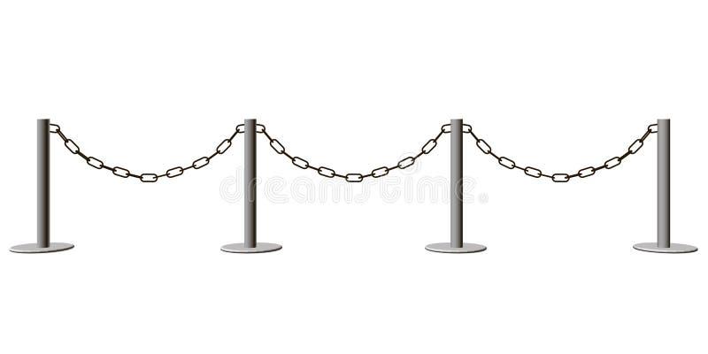 Barrière avec la chaîne d'isolement sur le fond blanc 3d Illust de vecteur illustration de vecteur