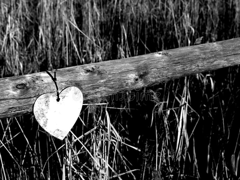 Barrière avec le coeur en bois images libres de droits