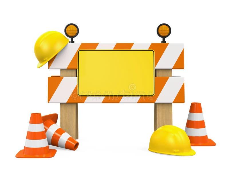 Barrière, cônes du trafic et casque de sécurité en construction illustration de vecteur
