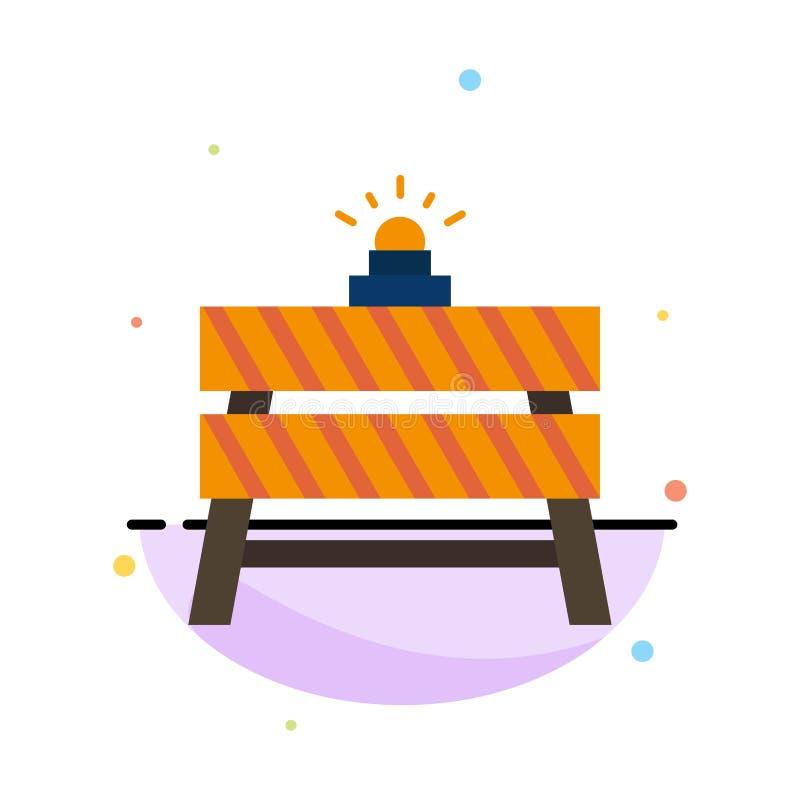 Barrière, construction, arrêt, fermé, calibre plat d'icône de couleur d'abrégé sur route illustration de vecteur