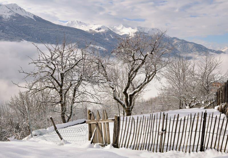 Barrière dans le jardin neigeux photographie stock